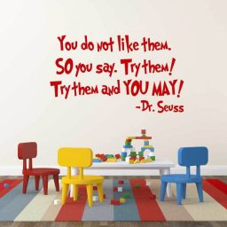 You Do Not Like Them Dr Seuss Quote Vinyl Wall Decal - Green Eggs and Ham