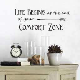 "Vinyl Wall Decals Quotes Inspirational Saying: ""Life Begins at the End of Your Comfort Zone"" for Decorating Home, Office, School Classroom"