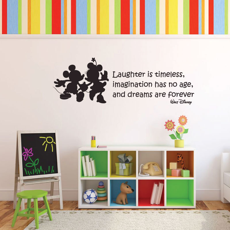 "Vinyl Wall Decal Walt Disney Quote With Mickey Mouse & Minnie Mouse: ""Laughter is timeless, imagination has no age, and dreams are forever."" Inspirational Quotation"