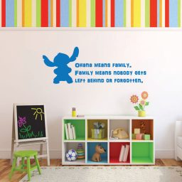 "Disney Stitch Wall Decal Vinyl Lettering Inspirational Quotation: ""Ohana means family. Family means nobody gets left behind or forgotten"""