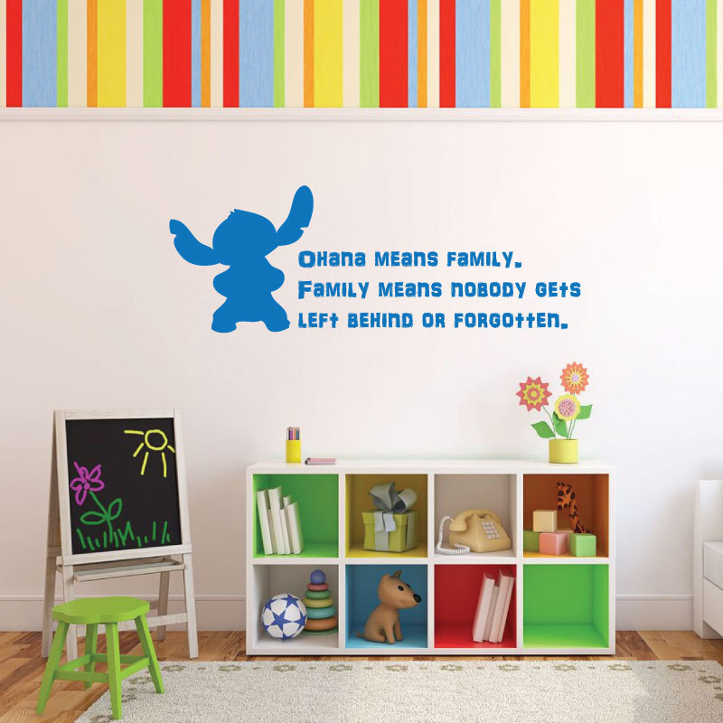 Disney Stitch Wall Decal Vinyl Lettering Inspirational Quotation  Ohana means family.  sc 1 st  CustomVinylDecor.com & Disney Stitch Wall Decal Vinyl Lettering Inspirational Quotation ...
