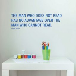 Vinyl Wall Decal Mark Twain Quote The Man Who Does Not Read