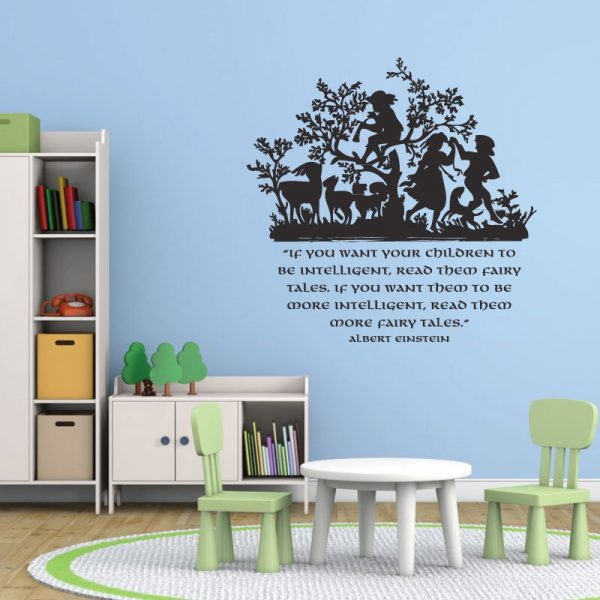 Vinyl Wall Decal Albert Einstein Quote: If You Want Your Children To Be Intelligent Read Them Fairy Tales
