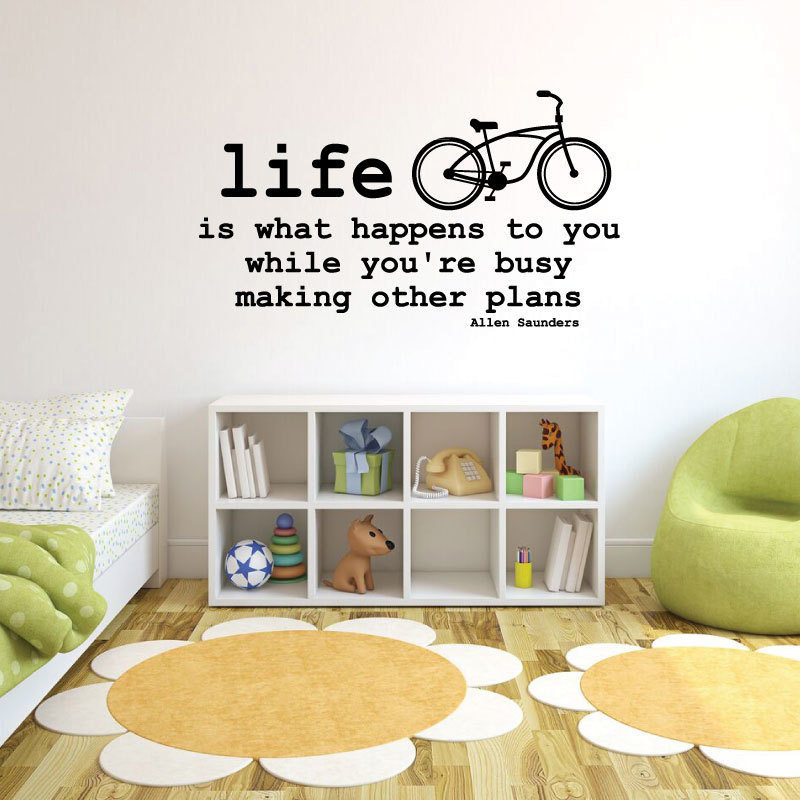 Vinyl Wall Sticker Bicycle and Allen Saunders Quote: Life Is What Happens To You While You're Busy Making Other Plans