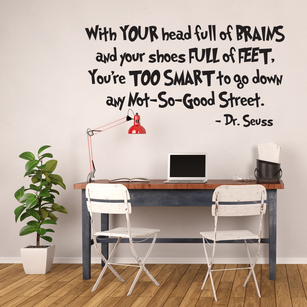 Dr. Seuss Vinyl Wall Decal With Your Head Full of Brains