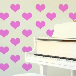 Vinyl Wall Decals Heart Shaped Removable Wallpaper Pattern