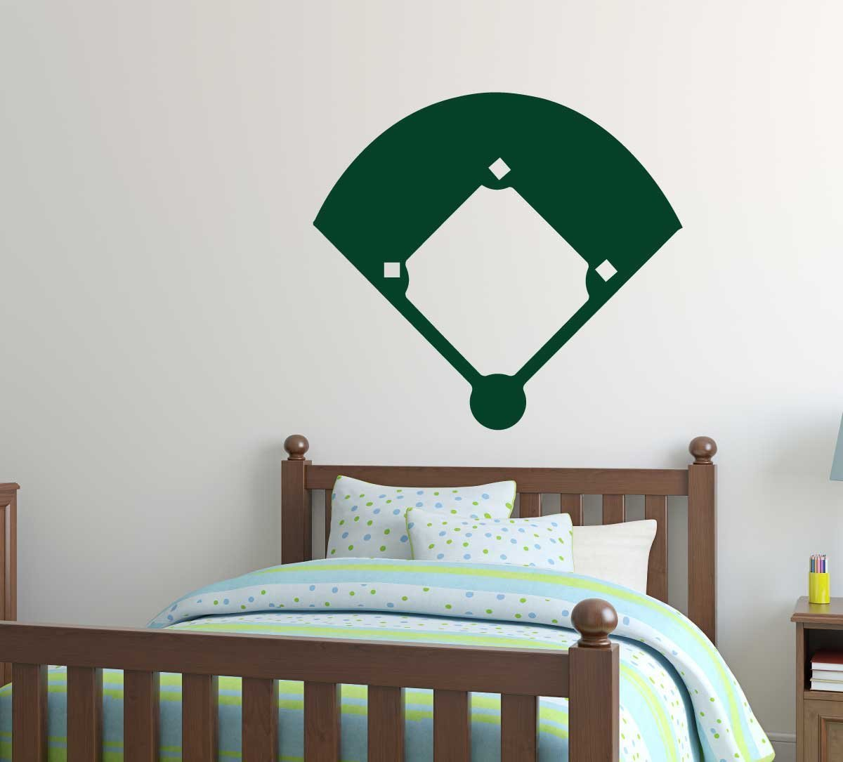 Baseball wall decals baseball softball field sticker for Sports decals for kids rooms