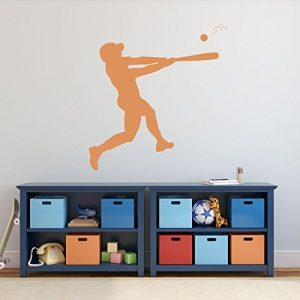 Baseball Player Wall Decal Batting Boys' Room Vinyl Wall Decor