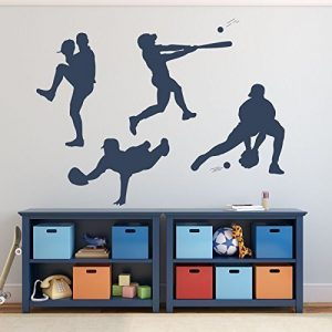 Baseball Player Wall Decal Pitching Catching Diving Batting Boys'