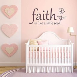 "Faith Wall Decals ""Faith Is Like A Little Seed"" With Flower Image Vinyl Home Wall Decor"