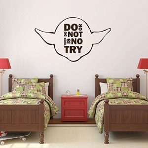 "Yoda Quotes Wall Decals ""Do Or Do Not There Is No Try"" With Yoda Image Vinyl Home Wall Decor"
