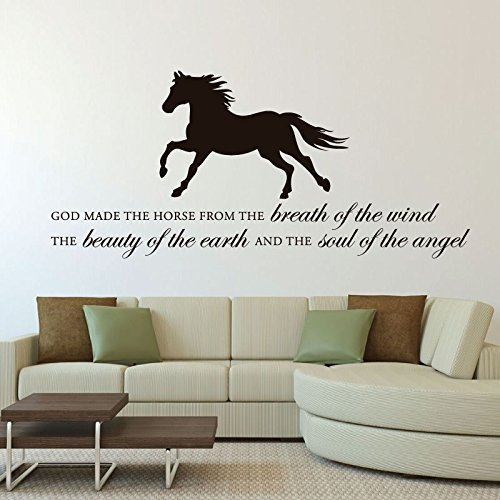 "Horse Vinyl Wall Decal ""God Made the Horse"" With Horse Image Vinyl Home Wall Decor"