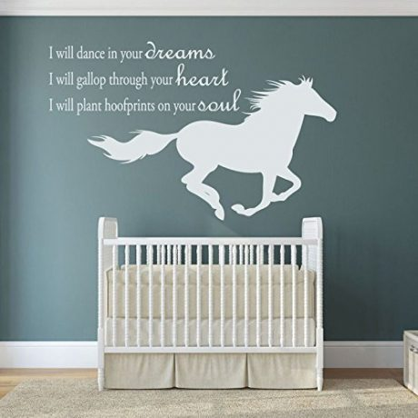 "Dream Wall Decal ""I Will Dance In Your Dreams"" With Galloping Horse Image Vinyl Home Wall Decor"