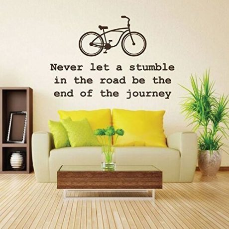 "Never Give Up Wall Decal ""Never Let A Stumble In The Road Be The End Of The Journey"" With Bike For Home, Office and School Decoration"