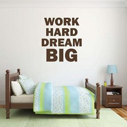 "Dream Big Wall Decal Inspirational Decor ""Work Hard Dream Big"" Vinyl Home, School And Office Decor"