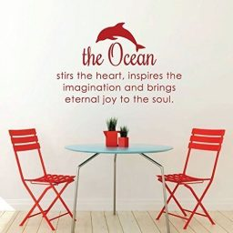 "Ocean Wall Decals ""The Ocean Stirs The Heart"" Inspirational Vinyl Decor With Dolphin"
