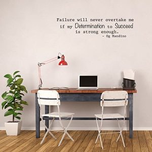 """""""Failure Will Never Overtake Me If My Determination To Succeed Is Strong Enough"""" Og Mandino Quotes Vinyl Decor"""