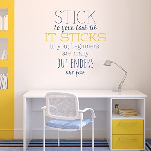 "Wall Decal Motivational Poetry Quote ""Stick To Your Task Till It Sticks to You"""