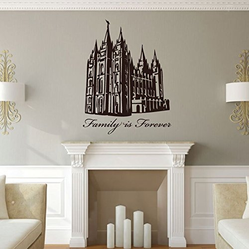 "Salt Lake Temple Art Vinyl Wall Decal ""Family Is Forever"""