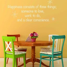 Vinyl Wall Decal Happiness Consists of Three Things Inspirational Quote, Someone To Love, Work To Do, Clear Conscience