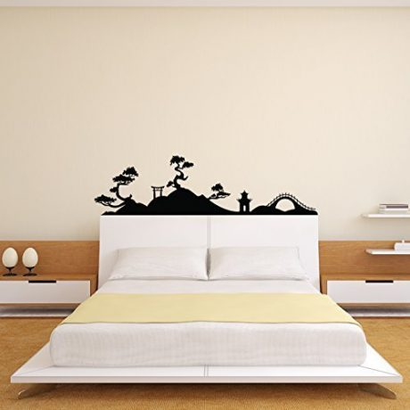 Japanese Tree Wall Decal Asian Landscape Silhouette Design, Decoration for Oriental Cultural Decor