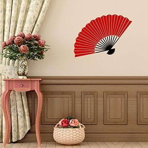 Vinyl Wall Decal Chinese Oriental Hand Fan Design Decoration Asian Cultural Decor
