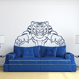 Attacking Tiger Vinyl Wall Decal, Fierce Animal Mascot Sticker