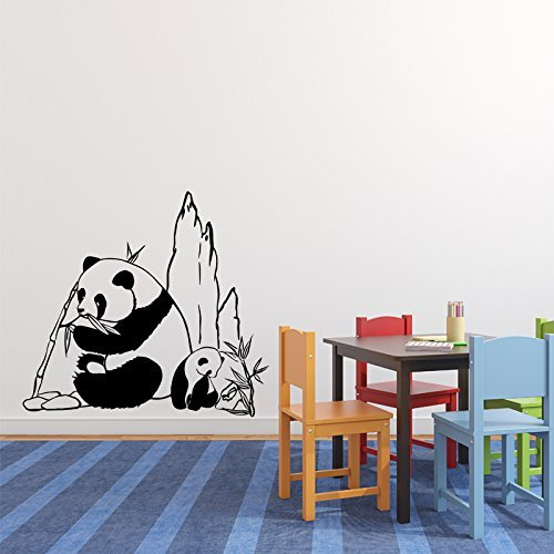 Panda Bears Vinyl Wall Decal, Asian Mountain Landscape Zoo or Wilderness Decoration Sticker