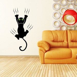Cat Vinyl Wall Decal Pet Shop Decor - Clawing, Clinging to Wall