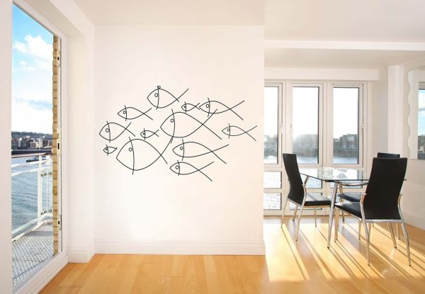 Fish Wall Decal Ocean Themed Vinyl Stickers Swimming School of Fishes