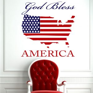 God Bless America Wall Decal Patriotic DŽcor - Blue and Red Map Flag of the United States of America