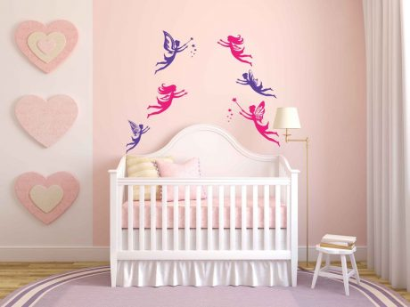 Six Fairies Flying Vinyl Wall Decal Decorations