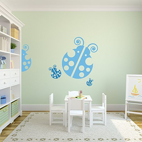 Three Lady Bugs Nursery Decor Vinyl Wall Decals - Removable Peel & Stick Stickers