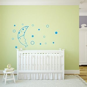 Moon and Hanging Stars Dreamland Decorative Vinyl Wall Decals - Removable Peel & Stick Stickers