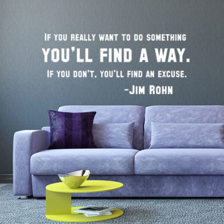 Success Quote Wall Decal - Jim Rohn: You'll Find a Way Vinyl Lettering