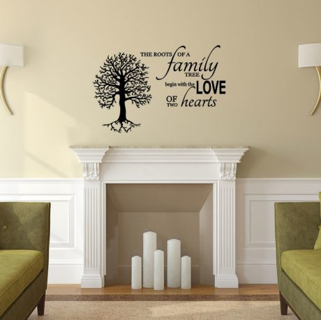 Family Tree Vinyl Wall Decal  -The Roots of a Family Tree Begin with the Love of Two Hearts