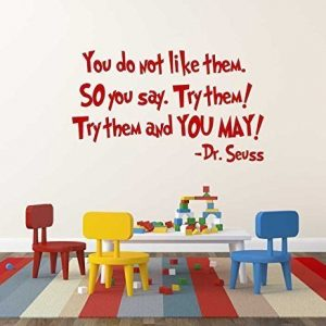 Try Them and You May! Dr Seuss Vinyl Wall from Green Eggs and Ham Children's Book
