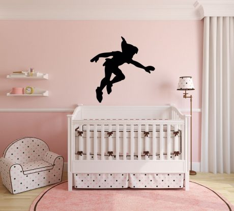 Peter Pan Wall Decal Vinyl Sticker, Disney Shadow Character Art Silhouette for Kids Playroom, Bedroom, Nursery