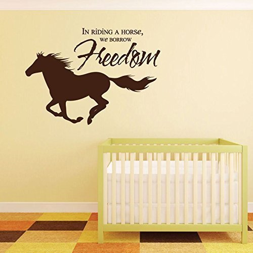 "Horse Wall Decals ""In Riding A Horse, We Borrow Freedom "" With Horse Image Vinyl Home Wall Decor"