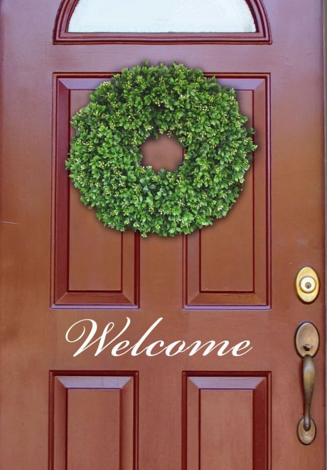 Welcome Sign Vinyl  Door Sign Decal for Entry Way or Family Room - Removable Peel and Stick Sticker