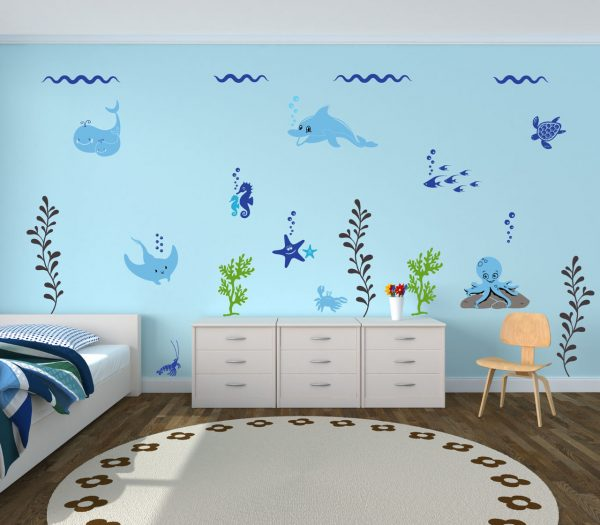 Playrooms Ocean Themed Wall Decals For Decorating Kids Bedrooms