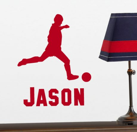 Personalized Soccer Player Wall Decal with Custom Name - Sports Theme Vinyl Sticker
