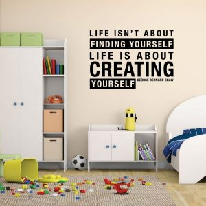 "Wall Decal Bernard Shaw: ""Life Is About Creating Yourself"" - Inspirational Vinyl Decor"