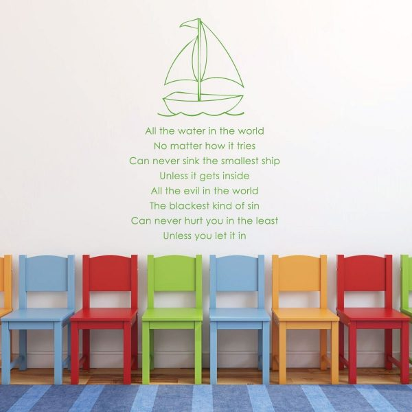 "Christian Quotes Wall Decals Vinyl Lettering ""All The Water In The World"" Poem With Sailboat"