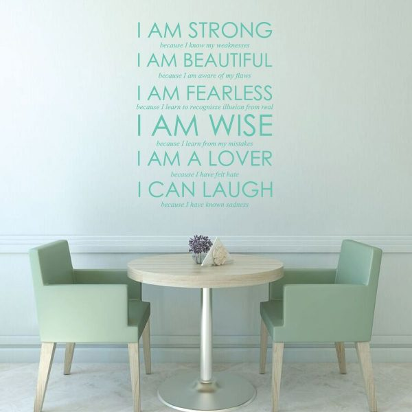 Strength Wall Decal Beautiful Fearless Wise Lover Laugh For Vinyl Wall Deco