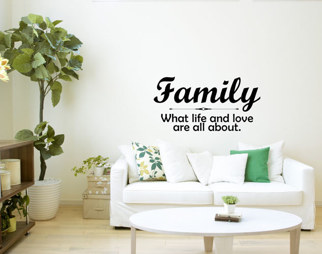 Family Vinyl Wall Decal Saying - Living Room Home Decor  Family - What Life and Love Are All About