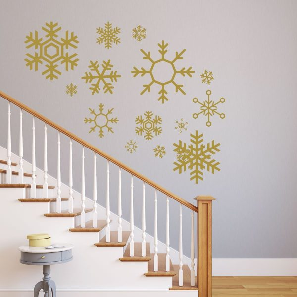 Snowflake Wall Decals - Christmas, Winter Vinyl Home Decor - Available in White, Silver, Blue, Other Colors