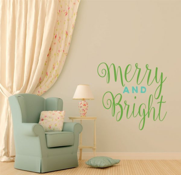 "Wall Decals Christmas Decor ""Merry and Bright"" Vinyl Lettering for Decorating Home,"