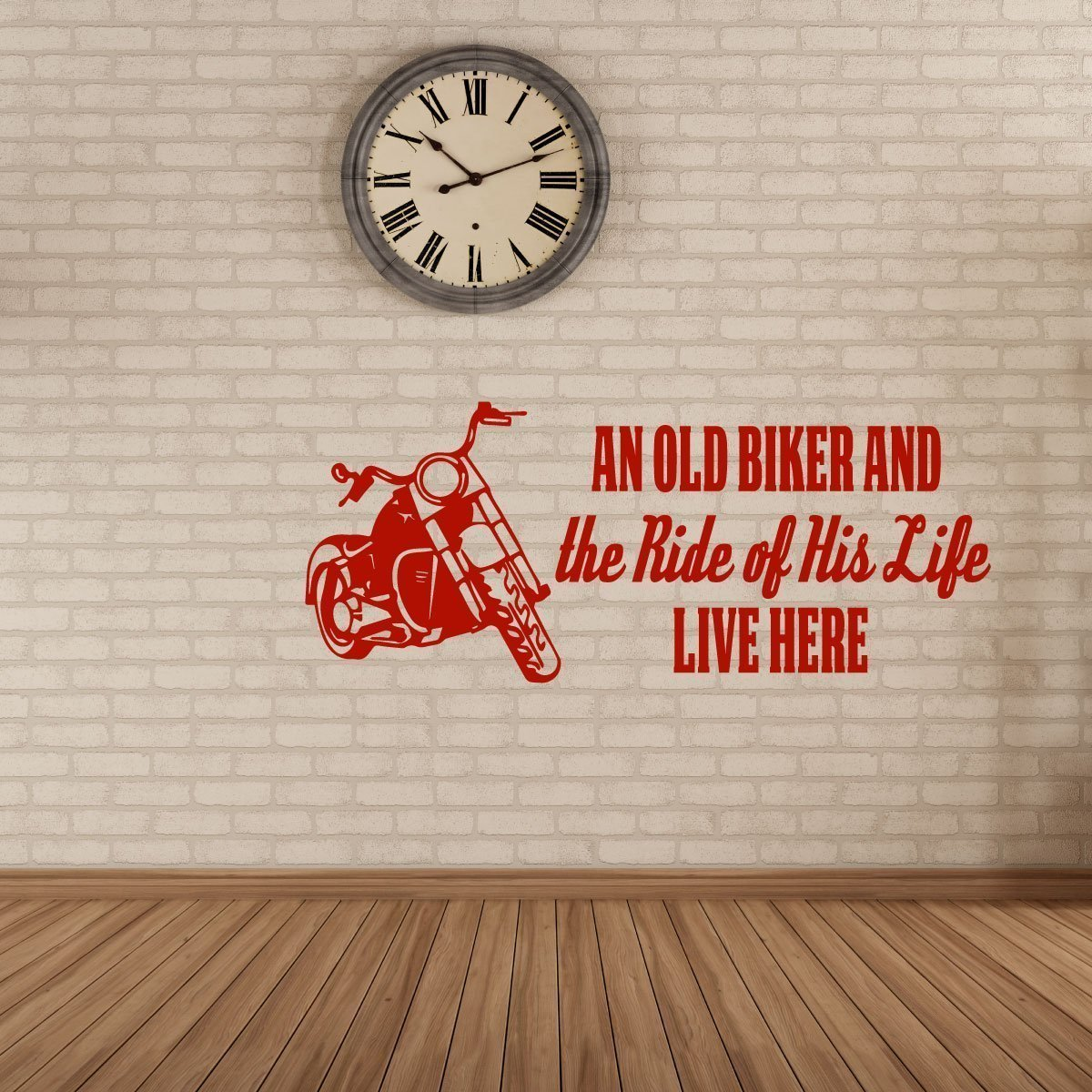 "Red Harley Davidson Vinyl Decals ""The Ride Of His Life"" With Motorcycle Image For Home Decor"