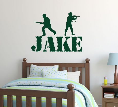 Boy Name Wall Decals Vinyl Decor - Personalized Army Soldiers for Decorating Boys Bedroom or Playroom